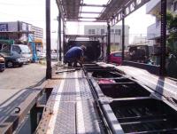 自動車運搬車のワイヤ交換